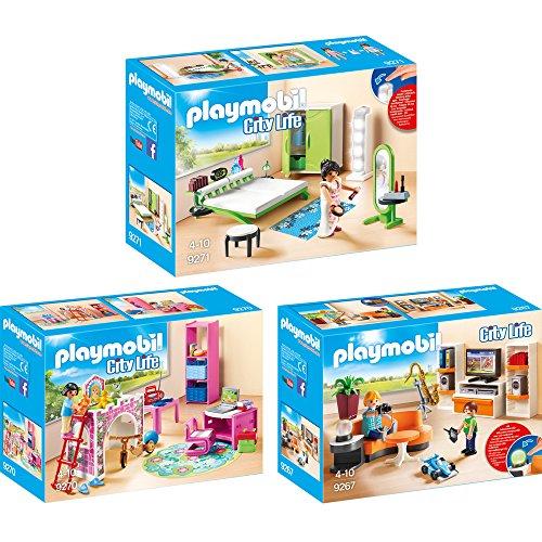 PLAYMOBIL® City Life 3er Set 9267 9270 9271 Wohnzimmer + Fröhliches Kinderzimmer + Schlafzimmer