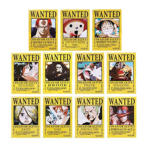 Chopper Piece Kostüm One - Yovvin 11 Stück One Piece Poster, Monkey D Luffy/Sanji/Roronoa Zoro/Nami/Usopp/Tony Tony Chopper/Nico Robin/Franky/Brook/Portgus D Ace/Shanks Poster Wanted