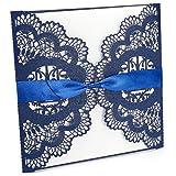 20 x Blau Laser Cut Hochzeitseinladung Einladungskarten Einladung Grußkarten mit Umschläge & Schleifenband Dekoband Geburtstag Taufe Party Gastgeschenk Hochzeit