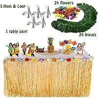 Sinoem Falda de Mesa Hawaiian Luau Hibiscus+24 flores Grass de Seda Faux Para +24 Hojas de Palmera Tropical Para Barbacoa de Verano Tropical Tiki Beach en jardín Decoración de Fiesta
