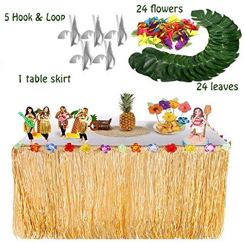 Sinoem Hawaiian Thema Party Dekoration -1 Stück Hawaiian Luau Grass Tisch Rock(9.6ft) + 24 Stück Tropical Palm Monstera Blätter+ 24 Stück Hibiskusblüten für BBQ Geburtstag tropischen Garten Strand Sommer Tiki Luau Dekorationen Set (Gold)