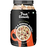 True Elements Crunchy Nuts & Berries Muesli with 30% Berries, Nuts and Seeds 1kg, Muesli Nuts Delight, Cereal for Breakfast