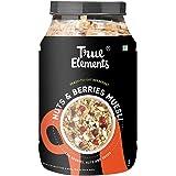 True Elements Crunchy Nuts & Berries Muesli 1kg - with 30% Berries, Nuts and Seeds, Muesli Nuts Delight, Cereal for Breakfast