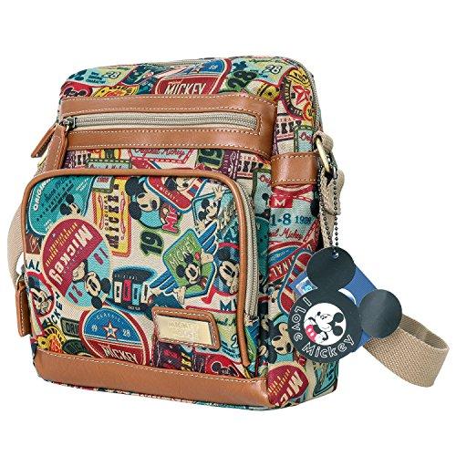 Disney klassischer Stil Micky Maus Muster mehrfach Ziel Kreuz Körper Tasche Brown