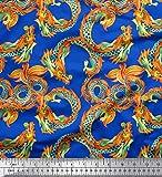 Soimoi Blau Seide Stoff Drachen Schlange Reptil Stoff