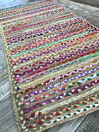 Second Nature Alfombra trenzada a mano de yute y algodón multicolor, diseño indio de rayas, varios tamaños, yute, multicolor, 70 cm x 140 cm