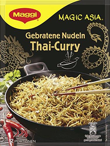 Maggi Magic Asia Gebratene Nudeln Thai Curry, asiatisches Fertiggericht, Instant-Nudeln, mit Gemüse & cremiger Kokosmilch, scharf gewürzt, 11er Pack (11 x 130 g)