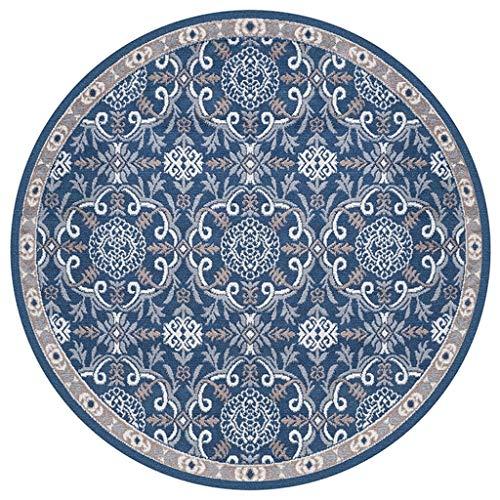 Teppich Vintage Verzierten Runde Teppich Nordic Folk Style Wohnzimmer Schlafzimmer Studie Hängen Korb Computer Stuhl Verdickung Teppich Verschiedene Größen (größe : Diameter-140CM) (Teppich-korb)