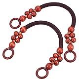 PandaHall 2pz 47cm Manici per Perline di Legno Manico di Ricambio Rosso Marrone per Accessori per Borsetta in Paglia