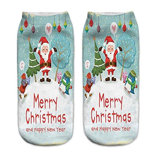 LoveLeiter Unisex Socks Weihnachts Socken Christmas Weihnachten Weihnachtssocken SchöN Frauen Socke Kurze SöCkchen Druck Sock Weihnachtsmotiv Damen Herren Strumpf Weihnachtssocke(D,Freie Größe)