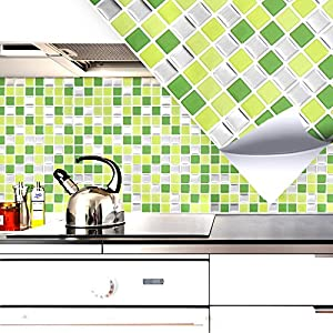 4er Set 25,3 X 25,3 Cm Fliesenaufkleber Hellgrün Grün Silber Mosaik I