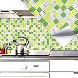 Grandora 4er Set 25,3 x 25,3 cm Fliesenaufkleber hellgrün grün Silber Mosaik I 3D selbstklebend Fliesen Küche Bad Wandaufkleber Fliesendekor Folie Fliesensticker WC W5289