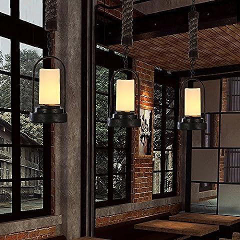 ZSQ retrò lampadari minimalista e personalità creativa stile industriale retrò pendente corda luce L di spago e lampadari (singola testa lampadari) #103 - Mason Spago