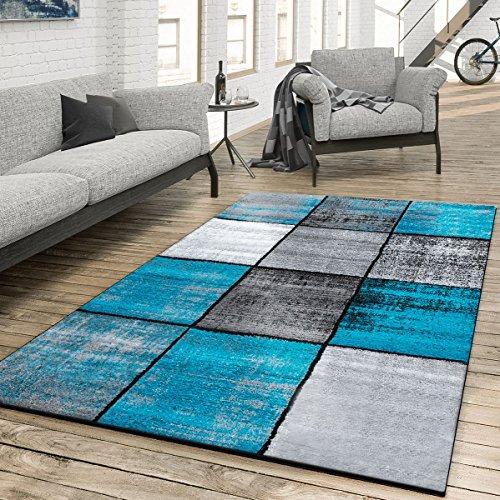 T&T Design Teppich Wohnzimmer Modern Kariert Meliert Grau Schwarz Türkis, Größe:160x230 cm (Teppich Türkis)