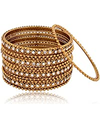 Indian Fashion Jewellery Gold Alloy Bangle Set For Women - Set Of 12