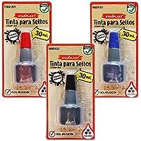 160151 - Set de 6 tintas para sellos, color negro, azul y rojo, 30ml cada bote