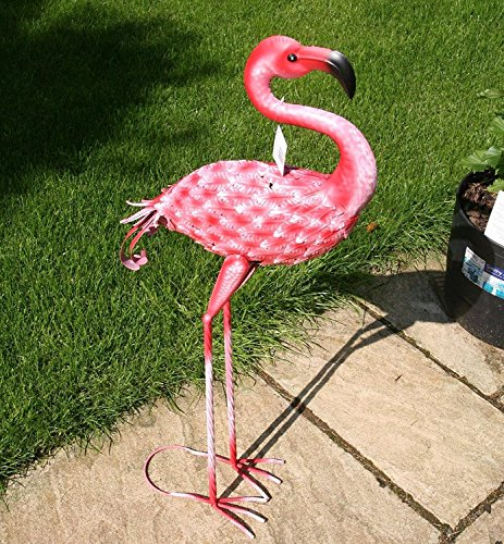 Rosa Flamingo-(90cm alto) jardín Animal Escultura Figura decorativa de metal