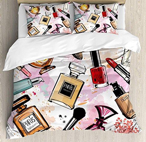 Mädchen 3 Stück Bettwäsche Bettbezug Set, Kosmetik und Make-up Thema Muster mit Parfüm Lippenstift Nagellack Pinsel moderne Dame, 3 Stück Tröster / Qulit Cover Set mit 2 Kissenbezügen, Multicolor - 2 Stück Tröster