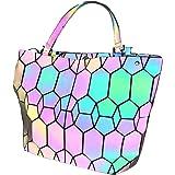 Hot One Handtasche Damen Geometrische Reflektierende Umhängetasche Geldbeutel Damen Taschen Set Rucksack (9# Leuchtend Mittel