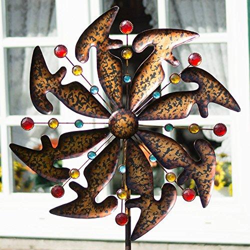 Metall Windrad - Exotic Flower Bali - wetterfest - mit Kugellager - leichtgängig drehend - Ø48cm, Gesamthöhe: 160cm - inkl. 3-teiligem, verschraubbarem Standstab (Bali)