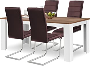 Agionda® Esstisch + Stuhlset : 1 X Esstisch Toledo 160 X 90 Nussbaum/Weiss