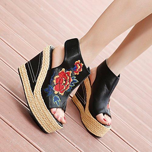 Khskx-the nouvelles Chaussures de la bouche de poisson Sandales Style Folk Danfeng Broderie Chaussures Paille pente Chaussures à orteils Thirty-seven