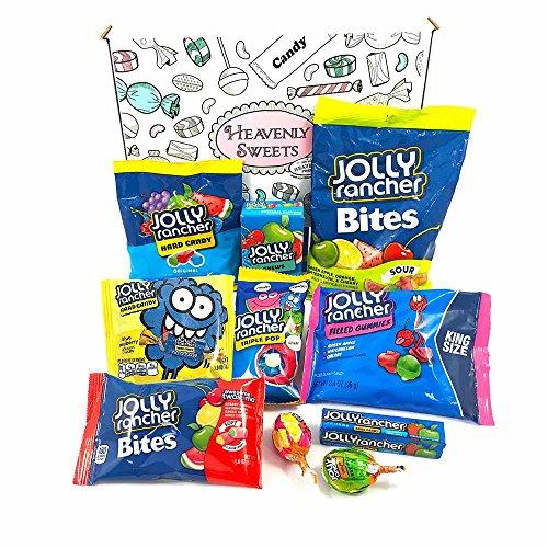 Amerikanische Süßigkeiten Geschenkkorb | Süßigkeiten aus den USA | Auswahl beinhaltet Jolly Rancher Hard Candy, Chews, Sour Blue Raspberry, Lollipops | gemischte Naschtüte verschenken | 11 Produkte in einer tollen retro Geschenkebox Green Apple Jolly Rancher