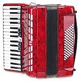 Classic Cantabile Secondo III Accordéon piano 72 basses 3 voix 34 touches avec sangle et housse Noir rouge