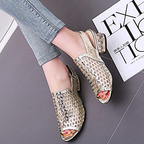 Mee Shoes Damen casual chunky heels Klettband Sandalen Gold