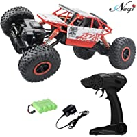 Negi 1:18 Rechargeable Rock Crawling 4WD 2.4 Ghz 4x4 Rally Car Remote Control Monster Truck Kids Play Toys (Red)