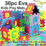 2You Kinder spielen Mats EVA-Schaum Bodenmatte mti 36Große Weiche Boden Fliesen Kinder Puzzle verzahnt mit Alphabet & Zahlen bunt von