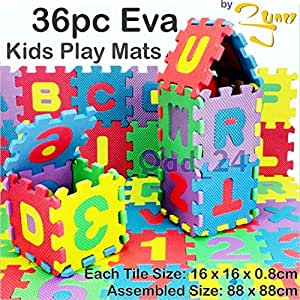 36pc kids play mats eva foam large soft floor tiles for Baby care play mat letters numbers grey large