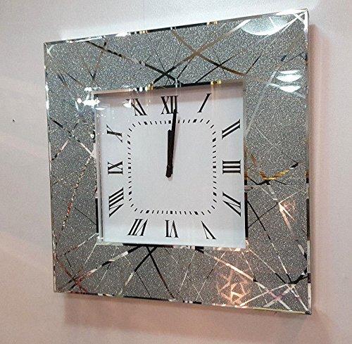 Premierinteriors Moderne Shimmer Glitzer, Spiegel-Glas-Wanduhr, 50cm, silber 222