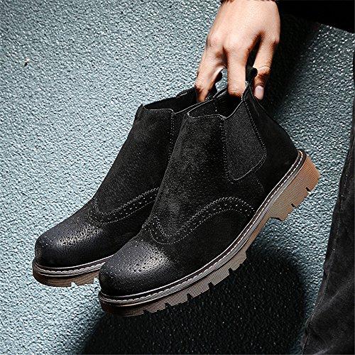 bullock ha inciso le scarpe gli stivali gli stivali di pelle chelsea martin black