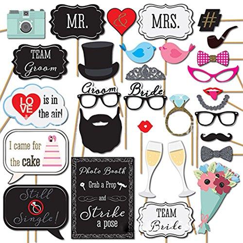 zantec 31pcs Hochzeit Photo Booth Props Party Funny Maske Selfie DIY Herr Frau Bride Groom Vintage Bridal Dusche Dekoration Just married Aufsteller, rote Lippen, Gläser etc. (Hochzeit Hintergrund-kit)