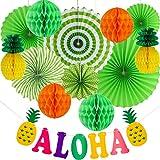 meekoo Set di Decorazioni per Feste Estive, Include Ventilatori di Carta, Palline di Ananas, Bandiera Ghirlanda per Lo Sfondo Fotografico della Festa a Tema Hawaii