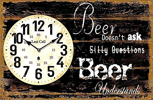 RELOJ DE PARED DESIGN BEER DOESN'T ASK SILLY QUESTIONS - BEER UNDERSTANDS - Tinas Collection