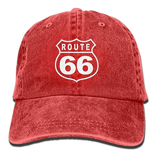Funny Caps Route 66 Vacation Highway Road Sign Washed Retro Adjustable Denim Hats Trucker Hats for Women and Men (Womens Road Cap)