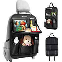 Tsumbay Car Organizer, PU Leather Car Seat Organizer with 9 Pockets, Foldable Tray Table, Tablet Holder, Seat Back Protector Kids Kick Mat Car Storage Organizer for Parents Kids Drivers-1 Pack