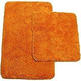 proheim Badematte 2-teiliges Set 50 x 80 und 45 x 50 cm rutschfester Badvorleger Premium Badteppich 1200 g/m² weich & kuschelig Hochflor Duschvorleger, Farbe:Orange - 2