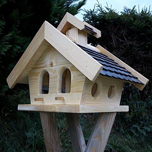 Vogelhaus-XL Schwarz- Vogelhäuser-Vogelfutterhaus Vogelhäuschen-aus Holz Wetterschutz Putzklappe - 2