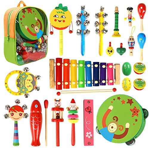 CrzKo Musikinstrumente Kinder, 22 Stück Holz Percussion Set Schlagzeug Schlagwerk Rhythm Toys Früherziehung Musik Kinderspielzeug für Kleinkinder Instrumentenset für Kinder und Baby mit Schultasche