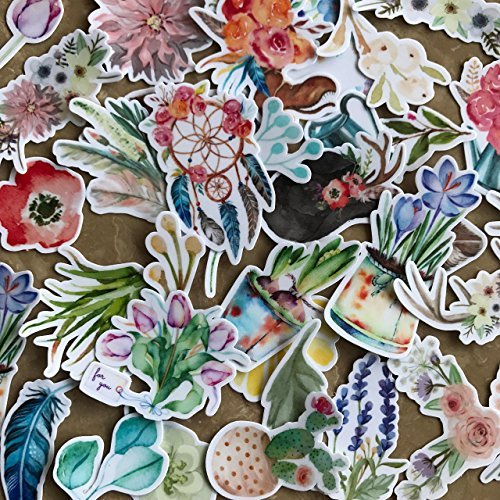 Navy Peony wunderschöne Aquarell Blumenaufkleber   Aufkleber Set für Ihre Laptops Handyhüllen und -schalen und Tagebücher   wasserdicht   37 Stück