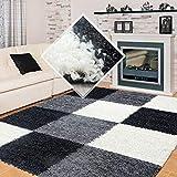 Carpet 1001 Hochflor Langflor Wohnzimmer Shaggy Teppich kariert Schwarz Weiss Grau - 120x170 cm