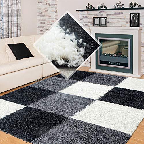 Carpet 1001 Hochflor Langflor Wohnzimmer Shaggy Teppich kariert Schwarz Weiss Grau - 200x290 cm (Kariert Teppich)