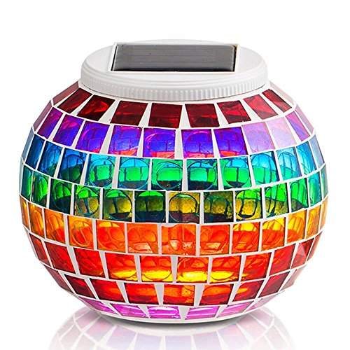 StillCool® Solar Powered Outdoor Color Changing Mosaic Solar Lights LED Magic Sunshine Glass Ball Lovely Night Lights Party Lights, Weatherproof Crystal Glass Globe Ball, Best Table Lamps for Home, Garden,Yard, Patio, Party, Christmas, Outdoor Lighting De