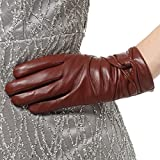 Nappaglo Damen Traditionelle Lammfell Leder Handschuhe Kaschmir-Futter Touchscreen Winter Warm Nappaleder Handschuhe (S (Umfang der Handfläche:16.5-17.8cm), Winerot(Non-Touchscreen))