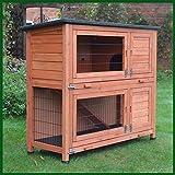 Kleintierstall über 2 Ebenen, geeignet für Kaninchen und Meerschweinchen, mit grüner Abdeckung und erhöhten Füßen, 1,2°m