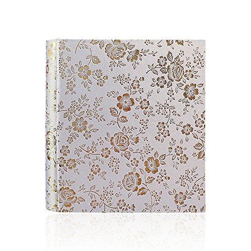 Jia HU Floral vintage Album photo en cuir Slip en tenue de 200 poches 12,7 cm Tableau de mémoire d'anniversaire de mariage Vacances Cadeau beige