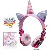 Auriculares Unicornio para Niños, Auriculares con Oreja para Niñas Auriculares Lindos con Cable 85dB Volumen Limitado, Navida